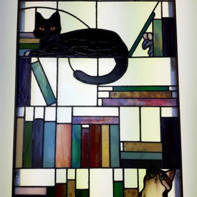 Twee Katten & Muis in de boekenkast